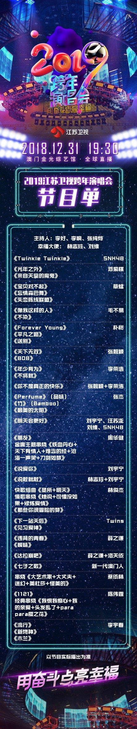 江苏卫视2019跨年演唱会节目单(官方版)