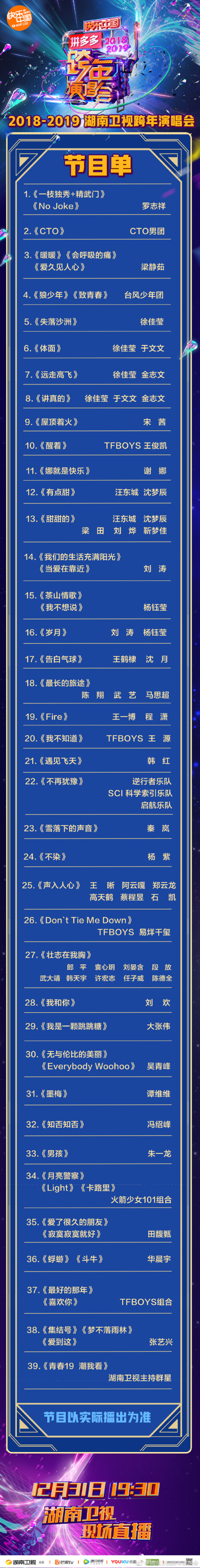 湖南卫视2018-2019跨年演唱会节目单(官方版)