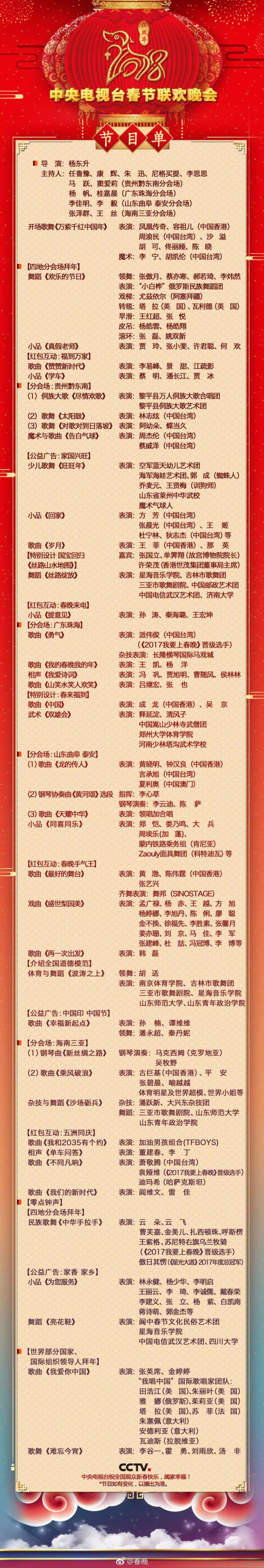 2018央视狗年春晚节目单官方版