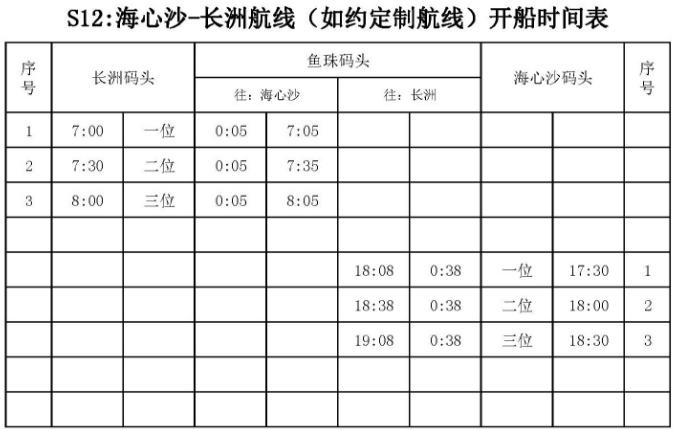 2018广州水上巴士S12线路及时刻表一览