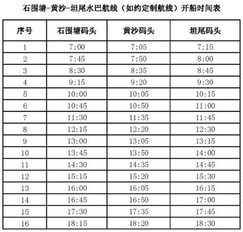 2018广州水上巴士S14线路及时刻表一览