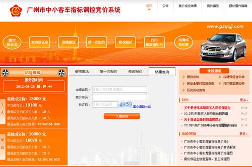 2018年广州车牌竞价结果查询