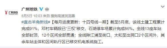 2018年6月广州地铁14号线一期进展:土建累计完成91%
