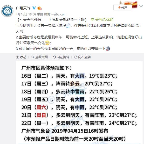 2019年4月16日广州天气白天阴天 有大雨 19℃~23℃