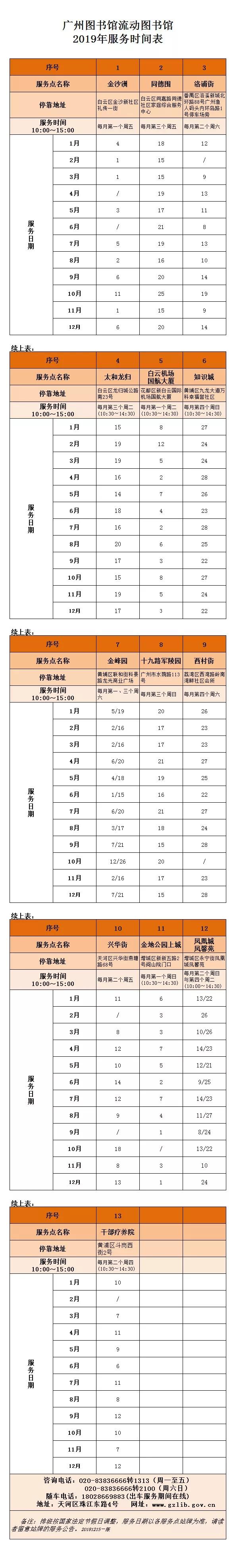 广州图书馆流动图书馆2019年服务时间安排表