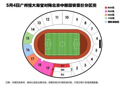 2019广州恒大和北京国安门票多少钱?广州恒大票价分区图