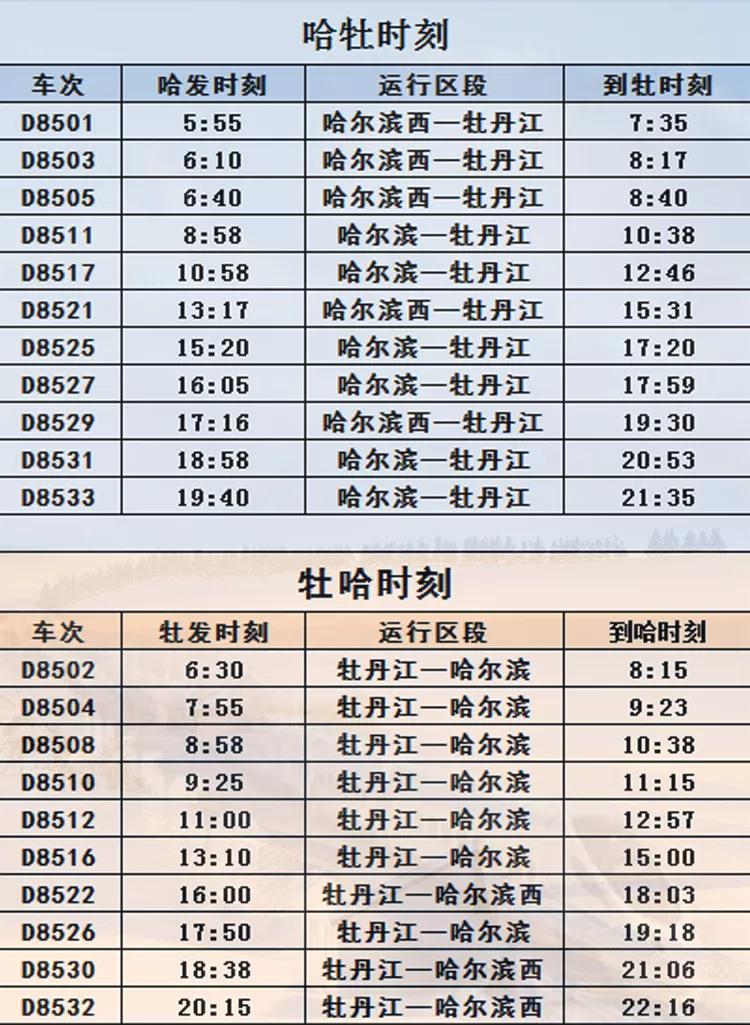 哈牡高鐵列車時刻表(最新)