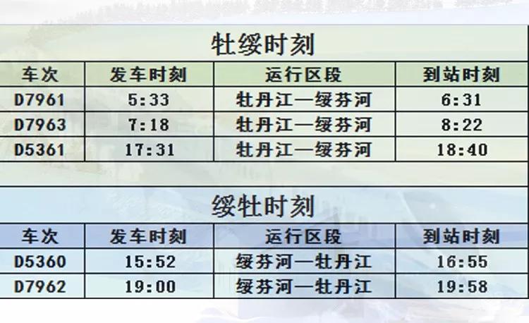 哈牡高铁列车时刻表(最新)
