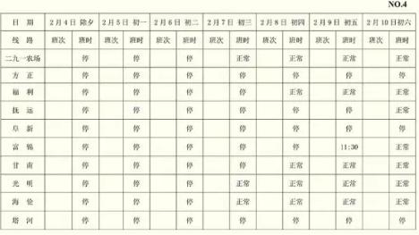 2019哈爾濱哈西客運站春節班次表