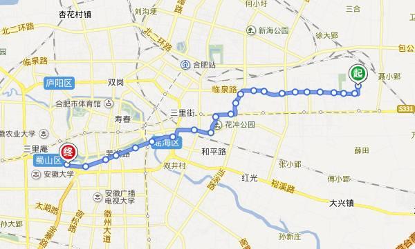 桐城东站_站塘- 4.东升- 5.唐郢- 6.凤阳东路- 7.汽车东站- 8.五里井- 9.