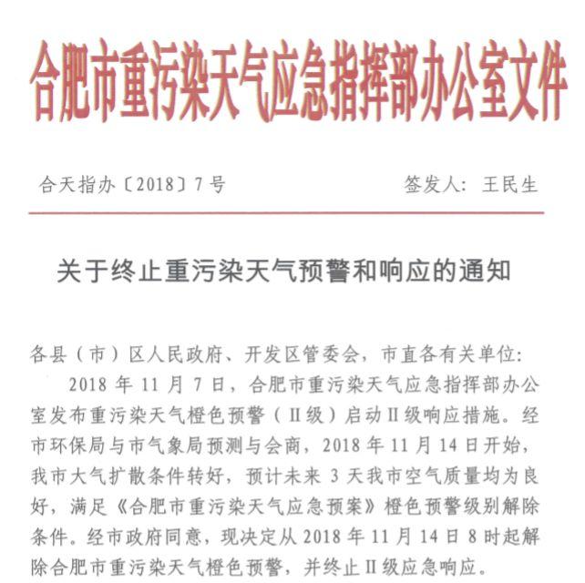 2018年11月14日合肥终止重污染天气预警和响应通知