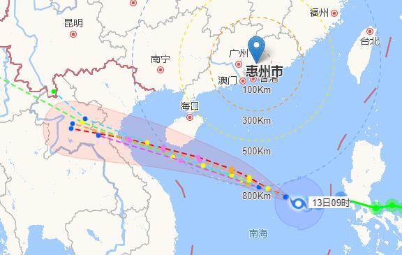 惠州2017年19号台风杜苏芮实时路径(实时更新)