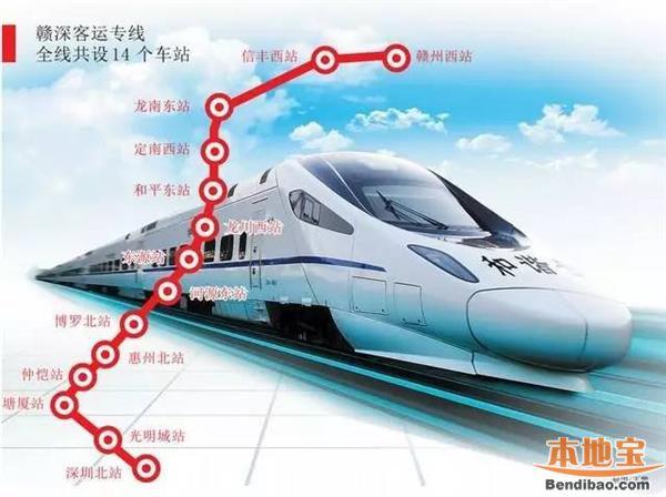 赣深高铁规划线路图 站点分布详情