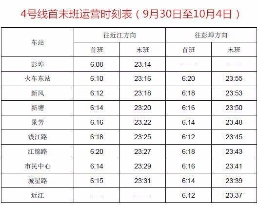 2017 国庆中秋期间杭州地铁运营时刻表