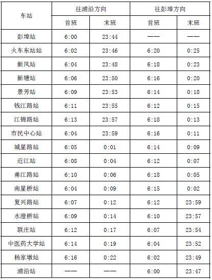 2019杭州元宵期间地铁运营班次时间安排