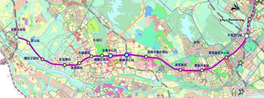 东莞地铁R2线路线图