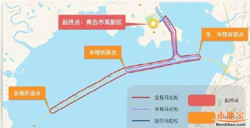 2017青岛马拉松全程比赛路线 起点 终点图片