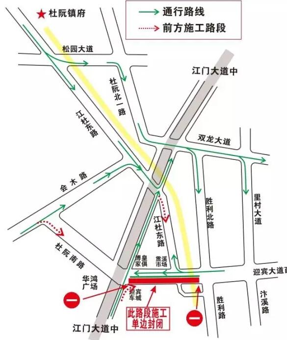 江门蓬江迎宾大道西路面改造施工 绕行示意图