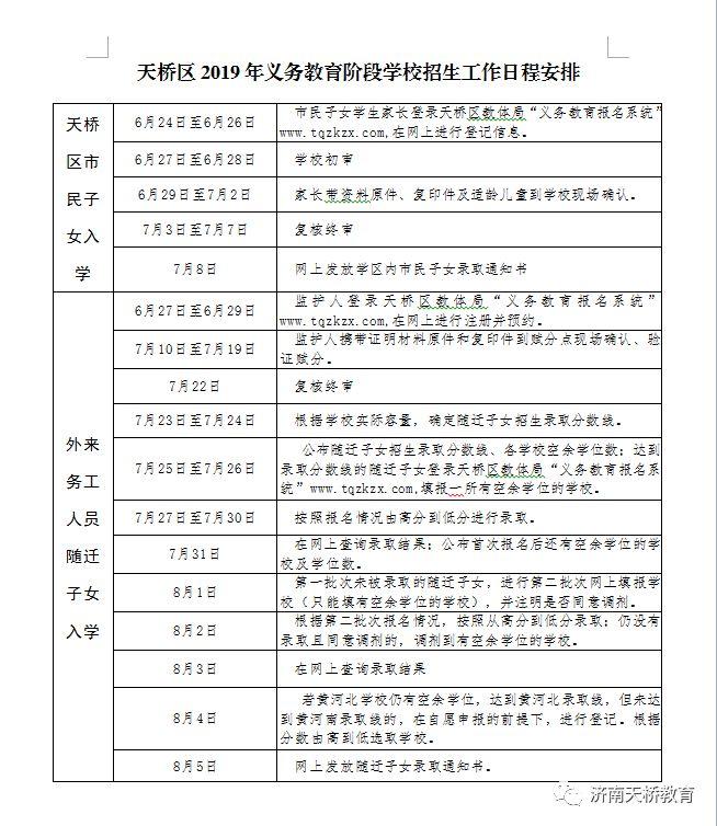 济南天桥区2019小学报名时间安排表