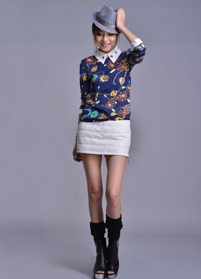 白鸭绒中腰裙裤