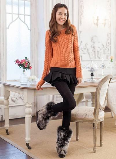 褶皱花边纯色裙裤