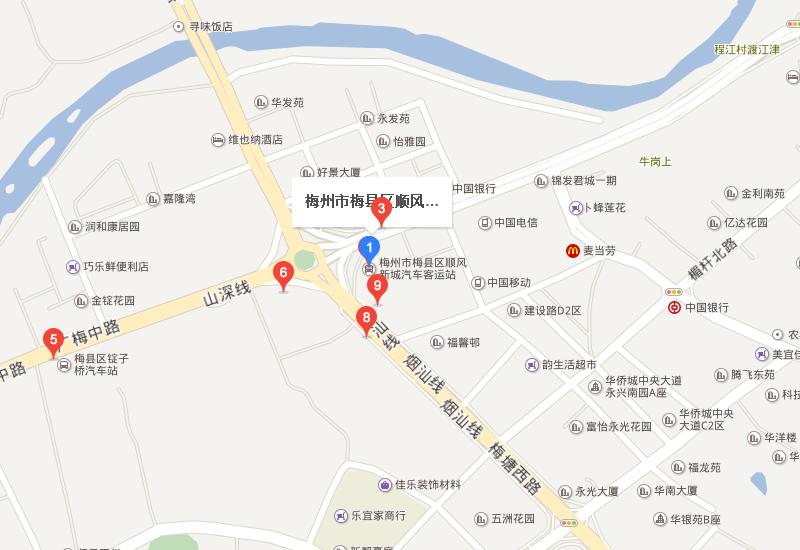 梅州顺风车站地图:      顺风车站(最近的公交站点),锭子桥,锭子桥图片