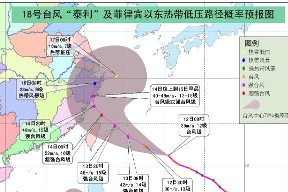 2017年台风泰利会登陆宁波吗 附路径图