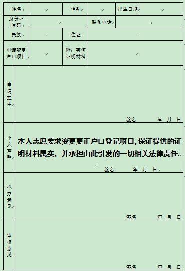 南昌户口登记项目变更更正申请表图片