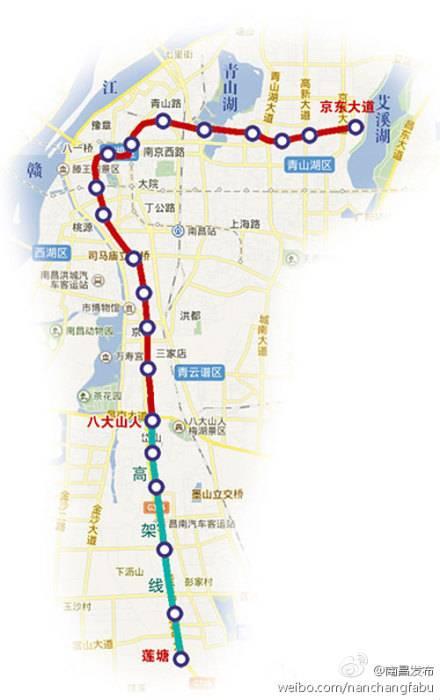南昌地铁3号线的线路具体走向为:莲塘站→迎宾大道→京山北路→十高清图片