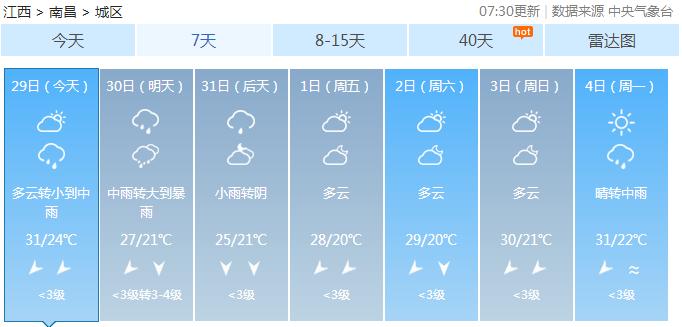 江西5月30-31日将迎来大暴雨