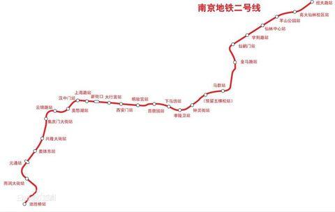 南京2号线地铁线路图