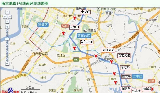 南京地铁1号线南延线线路图 图