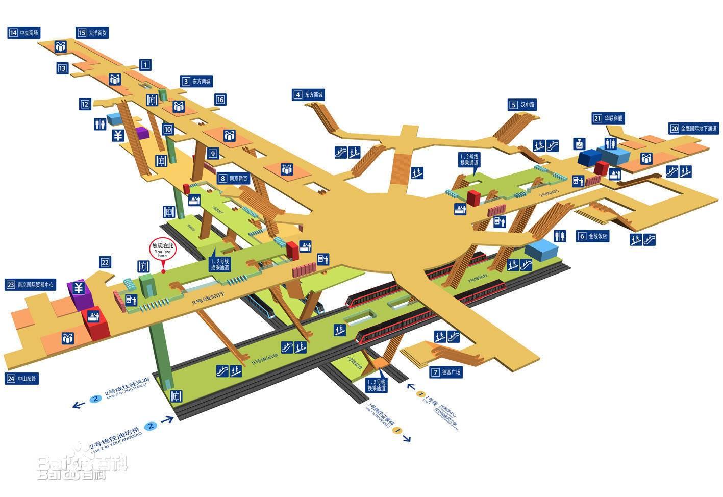 南京新街口地铁站地图