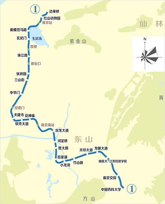 南京地铁1号线线路图高清