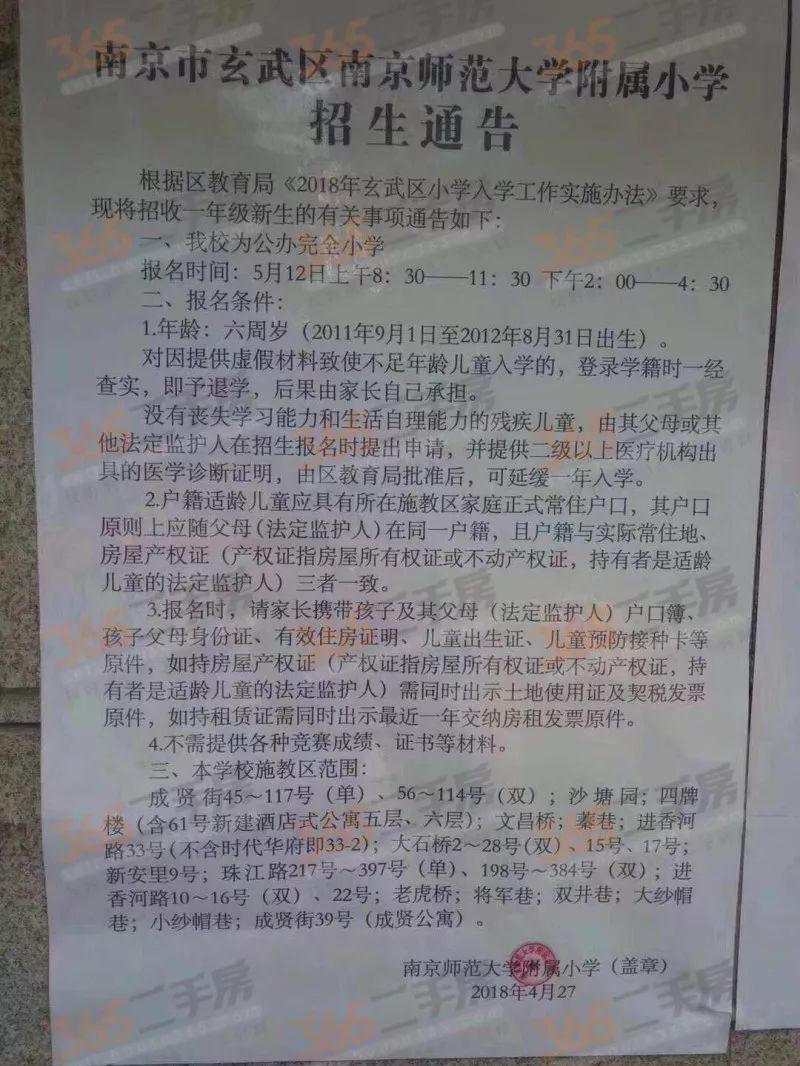 2018南京玄武区幼升小学区划分汇总
