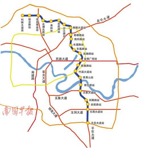 3号线各站点详细位置 韦春艳制图