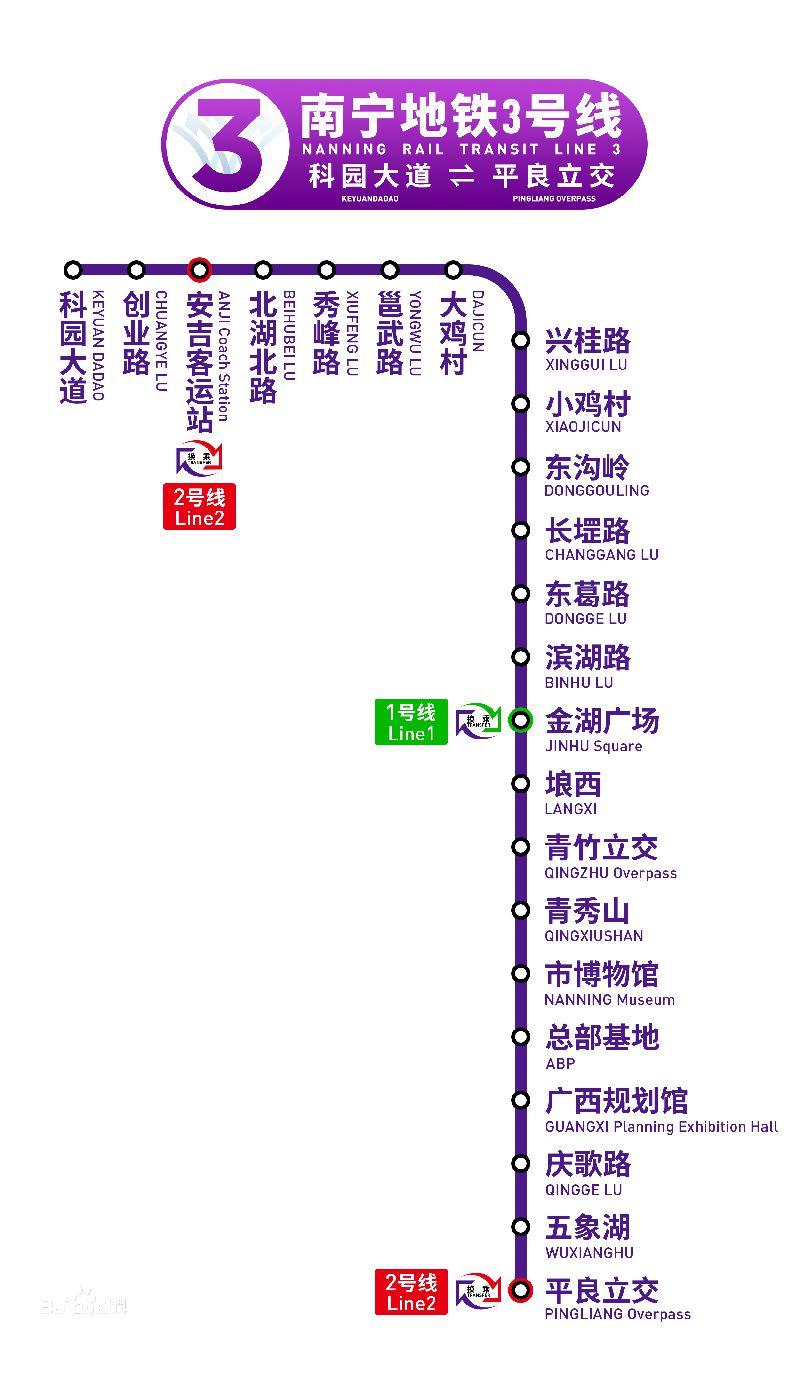 南宁地铁3号线站点分布详情