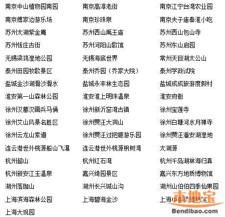 2015旅游年票一卡通——江苏浙江上海景点大全