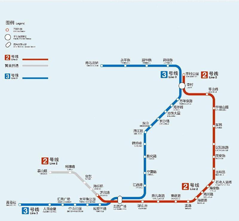 青岛地铁2号线线路图图片