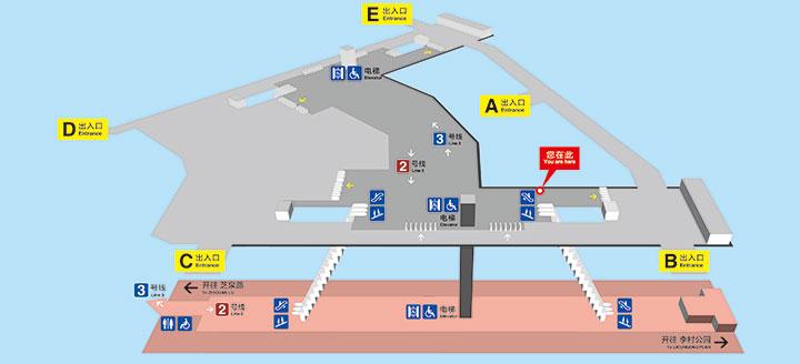 青岛地铁2号线李村站出入口信息(位置 公交换乘)