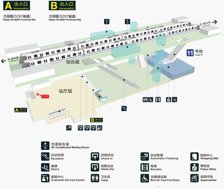 青岛地铁11号线钱谷山站出入口信息