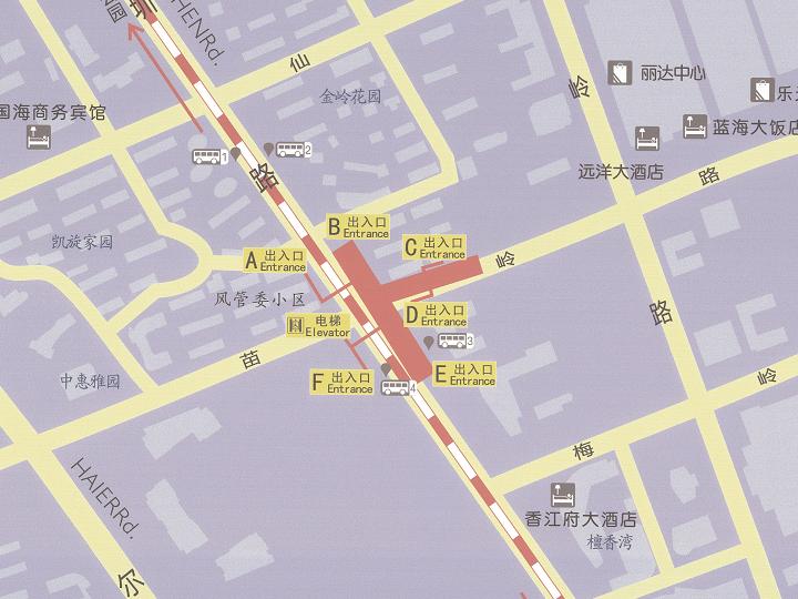 青岛地铁2号线苗岭站出入口信息