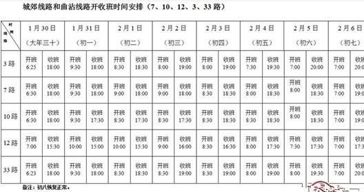 曲靖春节公交运行时间