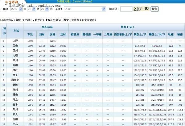 l190次列车时刻表(上海至西安春运临客时刻表)
