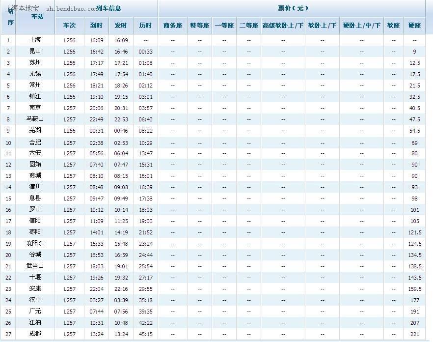 l256临客时刻表(上海至成都临客时刻表)