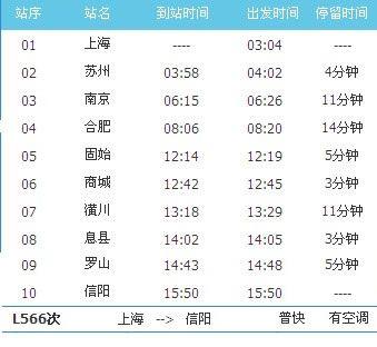 l566临客时刻表(上海至信阳临客时刻表)