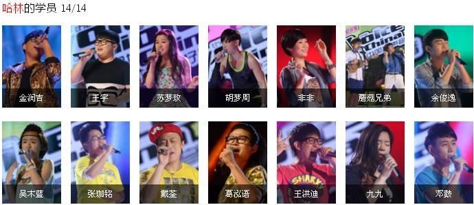 中国好声音第二季各导师学员名单