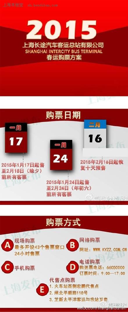 2015春运上海长途汽车票分两阶段出售