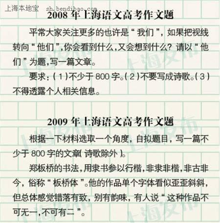 历年上海高考作文题目大全(2000-2013)