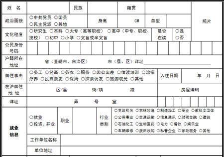 2014上海居住证申请表下载